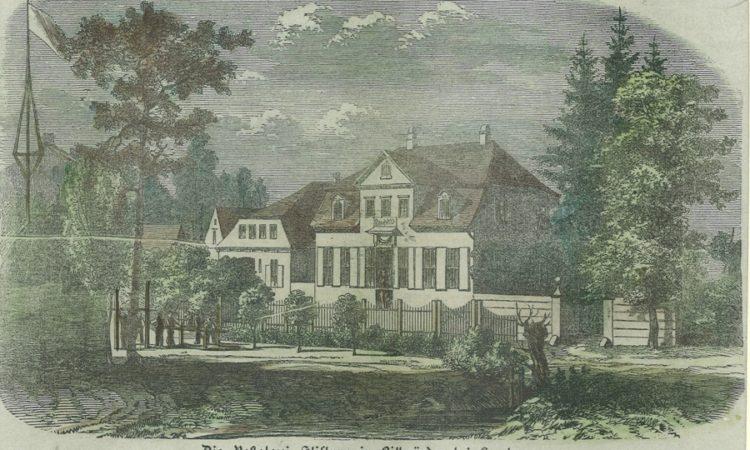 kolorierter Stich: Die Pestalozzi-Stiftung in Billwärder 1847