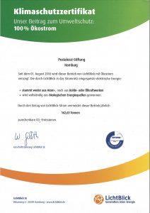 Klimaschutzzertifikat der Pestalozzi-Stiftung Hamburg, ausgestellt von LichtBlick