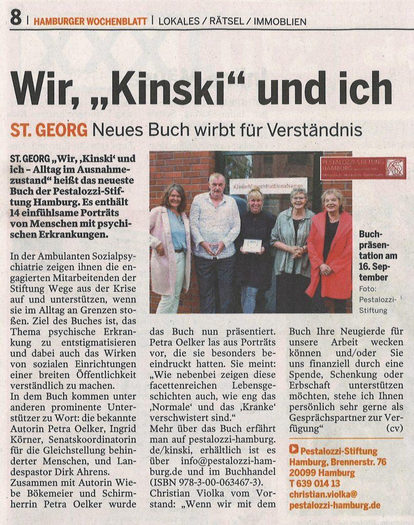"""""""Wir, 'Kinski' und ich"""" in den Hamburger Wochenblättern"""